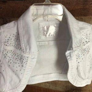Justice cropped white vest with bling!